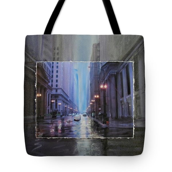 Chicago Rainy Street Expanded Tote Bag