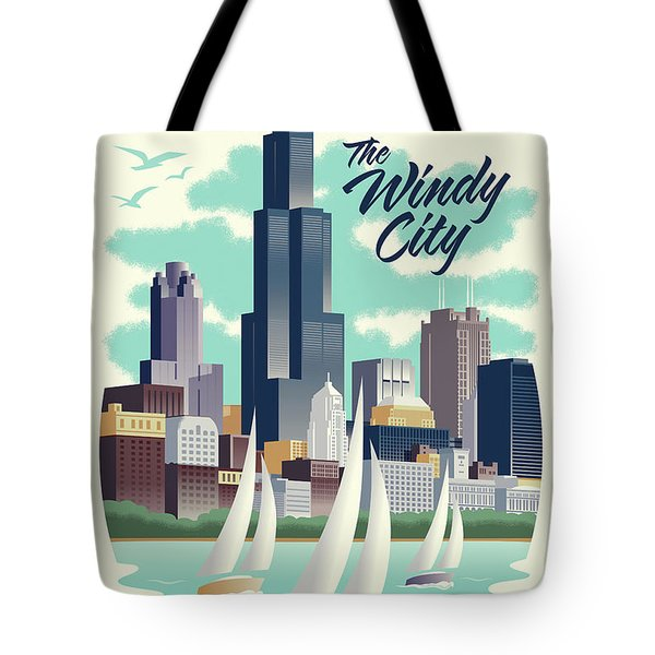 Chicago Retro Travel Poster Tote Bag by Jim Zahniser
