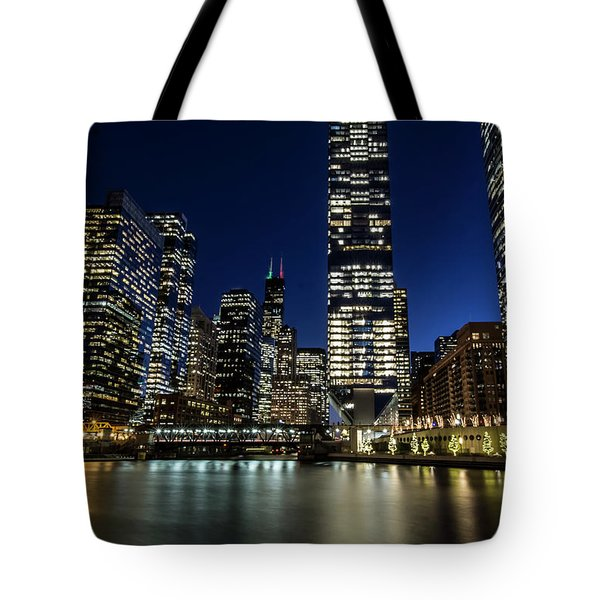Chicago River And Skyline At Dusk  Tote Bag