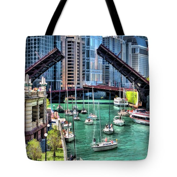 Tote Bag featuring the painting Chicago River Boat Migration by Christopher Arndt