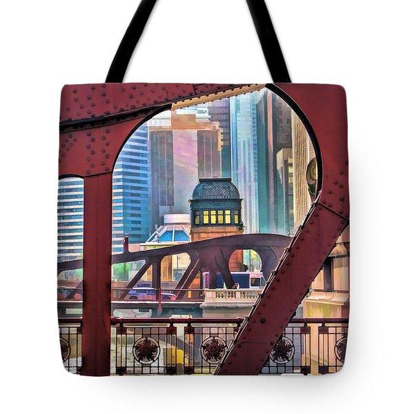 Chicago River Bridge Framed Tote Bag
