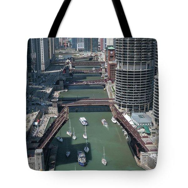 Chicago River Bridgelift Tote Bag