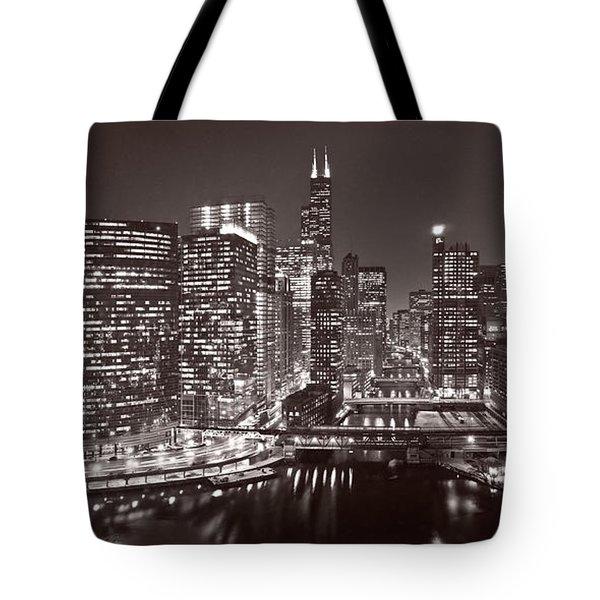 Chicago River Panorama B W Tote Bag by Steve Gadomski
