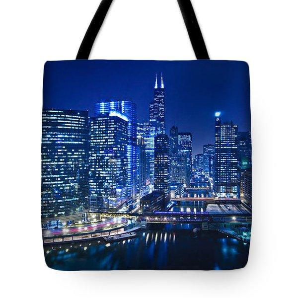 Chicago River Panorama Tote Bag