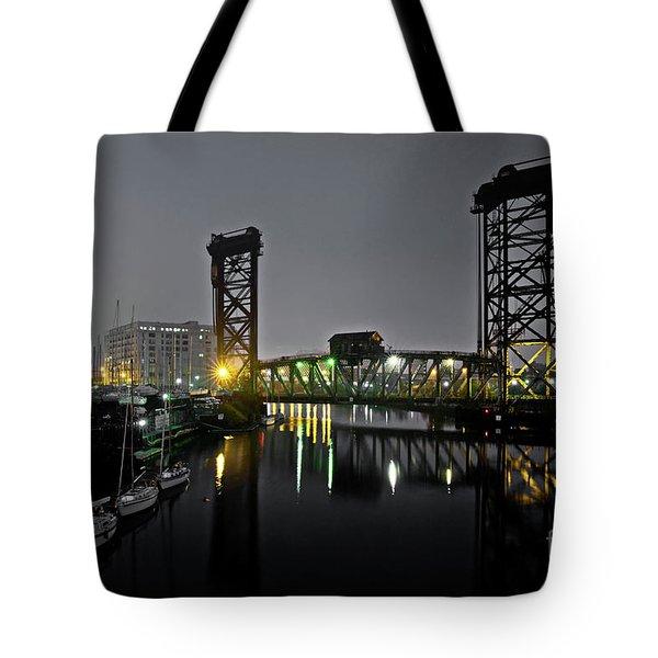 Chicago River Scene At Night Tote Bag
