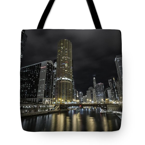 Chicago Riverfront Skyline At Night Tote Bag