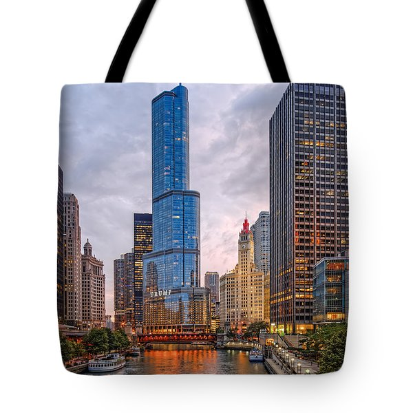 Chicago Riverwalk Equitable Wrigley Building And Trump International Tower And Hotel At Sunset  Tote Bag
