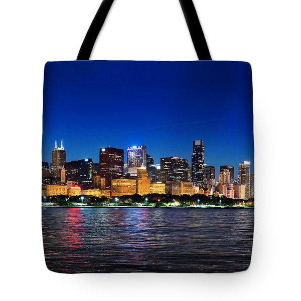 Chicago Shorline At Night Tote Bag