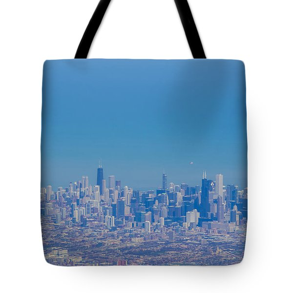 Chicago Skyline Aerial View Tote Bag