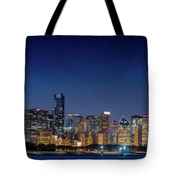 Tote Bag featuring the photograph Chicago Skyline After Sunset by Emmanuel Panagiotakis