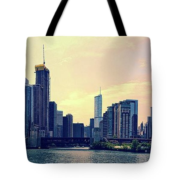 Chicago Skyline And Chicago River Tote Bag