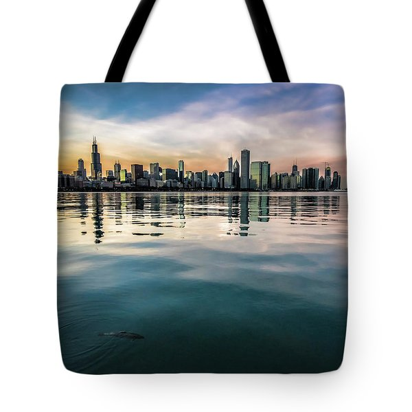 Chicago Skyline And Fish At Dusk Tote Bag
