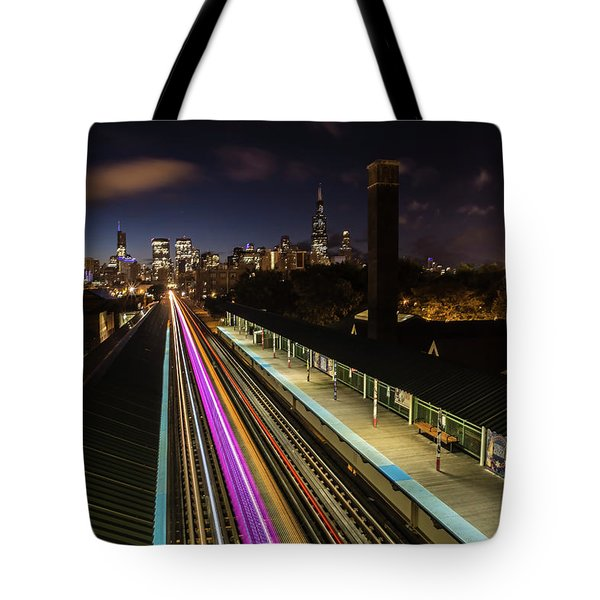 Chicago Skyline And Train Lights Tote Bag