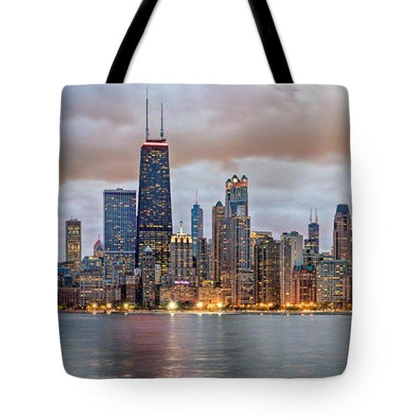 Chicago Skyline At Dusk Tote Bag
