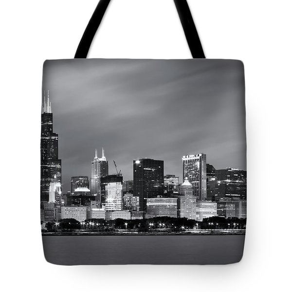 Tote Bag featuring the photograph Chicago Skyline At Night Black And White  by Adam Romanowicz