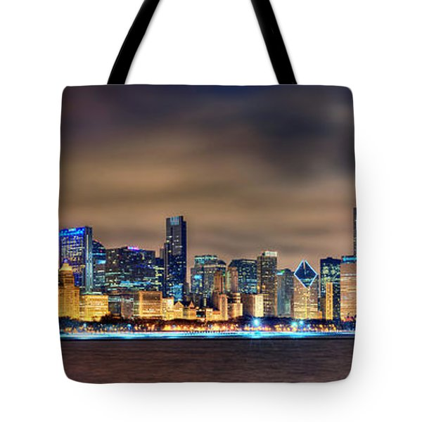Chicago Skyline At Night Panorama Color 1 To 3 Ratio Tote Bag