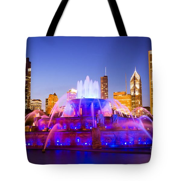 Chicago Skyline At Night With Buckingham Fountain Tote Bag by Paul Velgos