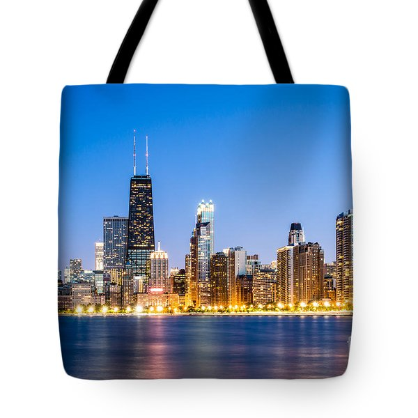 Chicago Skyline At Twilight Tote Bag by Paul Velgos