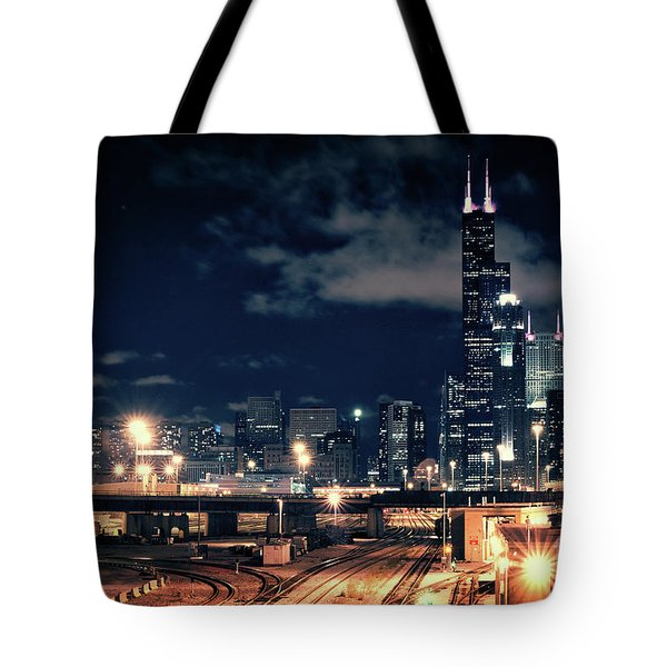 Chicago Skyline Cityscape At Night Tote Bag