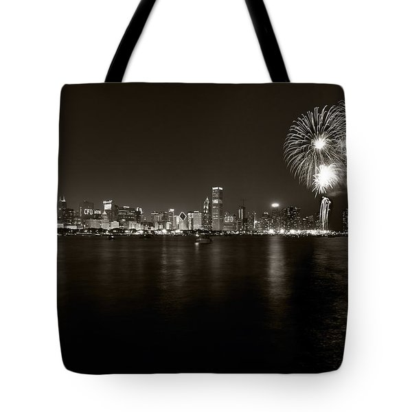 Chicago Skyline Fireworks Bw Tote Bag by Steve Gadomski