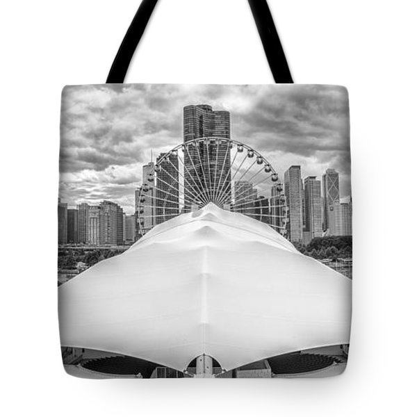 Tote Bag featuring the photograph Chicago Skyline From Navy Pier Black And White by Adam Romanowicz