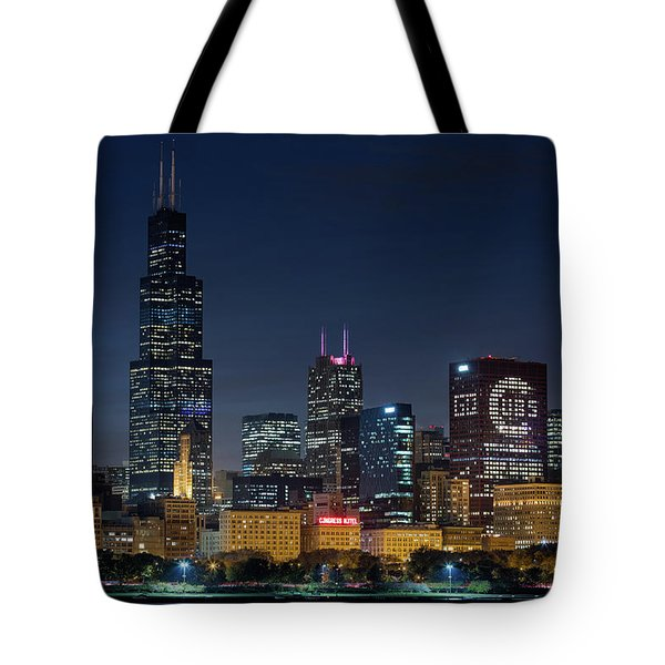 Tote Bag featuring the photograph Chicago Skyline Go Gubs  by Emmanuel Panagiotakis
