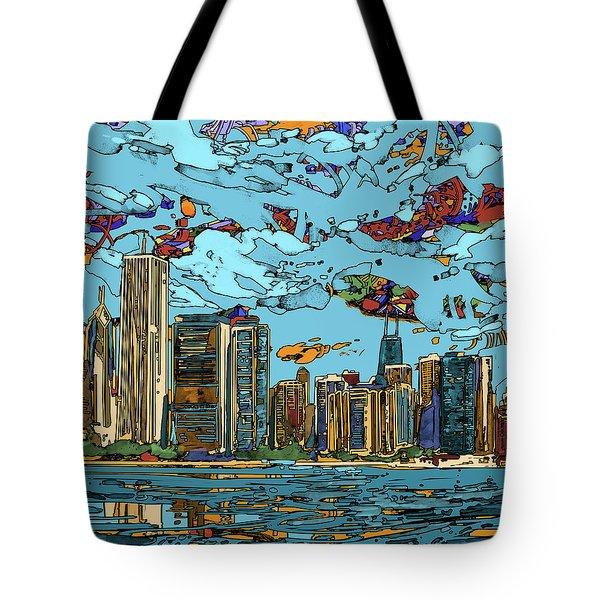 Chicago Skyline Panorama Tote Bag