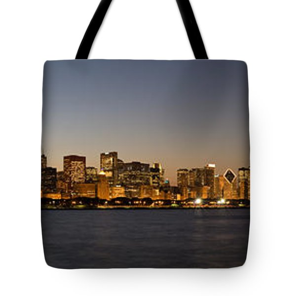 Chicago Skyline Panorama Tote Bag by Steve Gadomski