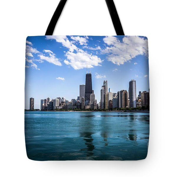 Chicago Skyline Photo With Hancock Building Tote Bag by Paul Velgos