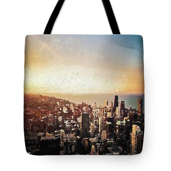 Tote Bag featuring the digital art Chicago Skyline by PixBreak Art