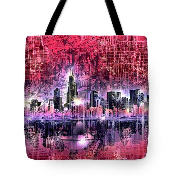 Chicago Skyline Red Version Tote Bag