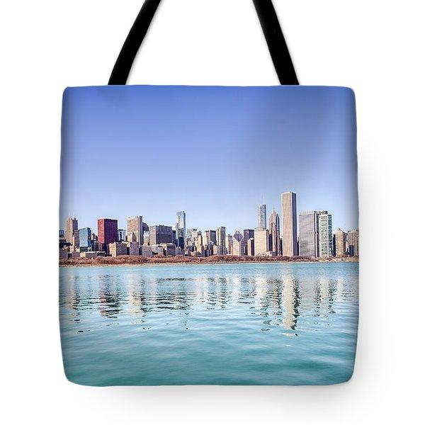 Chicago Skyline Reflecting In Lake Michigan Tote Bag