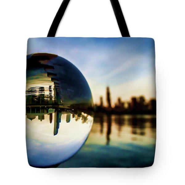 Chicago Skyline Though A Glass Ball Tote Bag