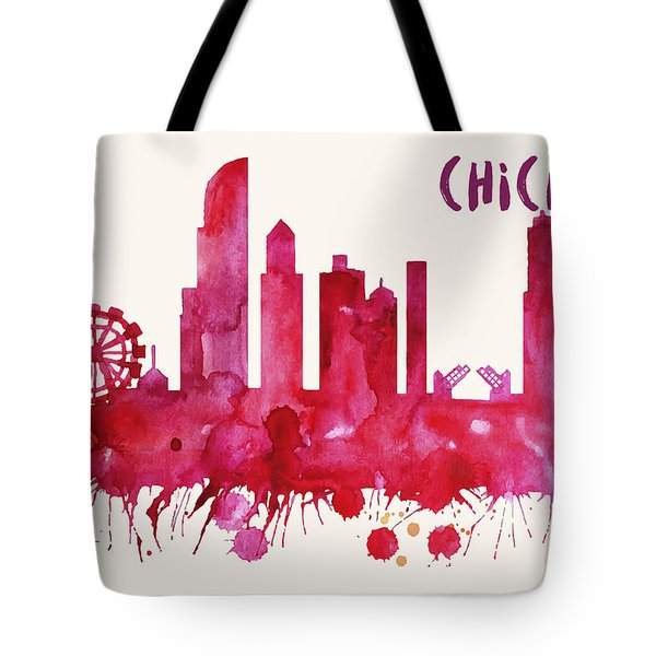 Chicago Skyline Watercolor Poster - Cityscape Painting Artwork Tote Bag