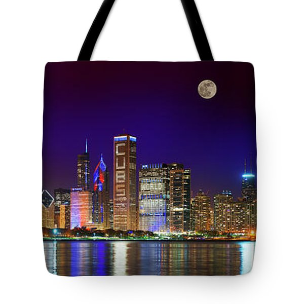 Chicago Skyline With Cubs World Series Lights Night, Moonrise, Lake Michigan, Chicago, Illinois Tote Bag