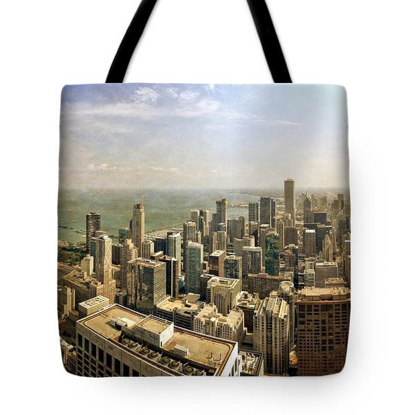 Chicago Skyline With Navy Pier Tote Bag