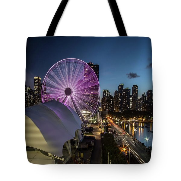 Chicago Skyline With New Ferris Wheel At Dusk Tote Bag