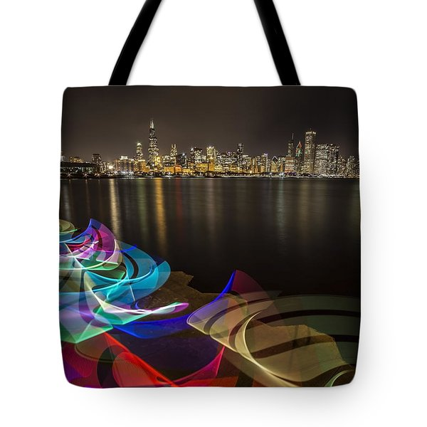 Chicago Skyline With Pixel Stick Painting Tote Bag