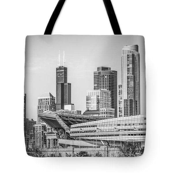 Chicago Skyline With Soldier Field And Willis Tower  Tote Bag by Paul Velgos