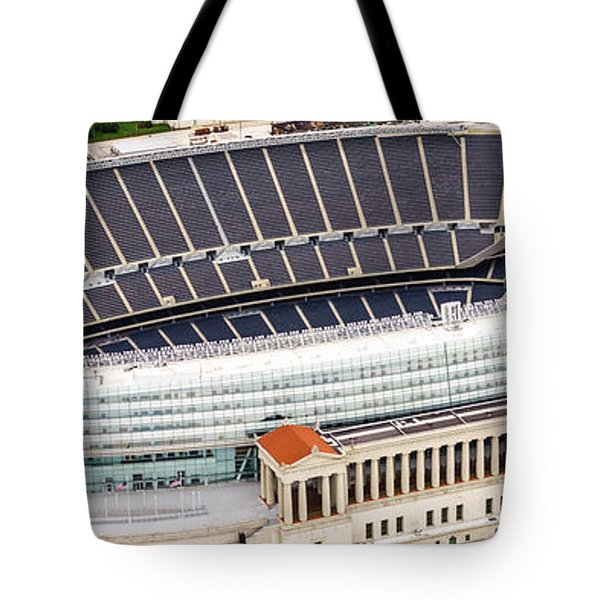 Chicago Soldier Field Aerial Photo Tote Bag by Paul Velgos
