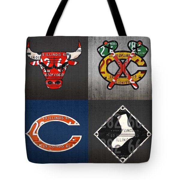 Chicago Sports Fan Recycled Vintage Illinois License Plate Art Bulls Blackhawks Bears And White Sox Tote Bag
