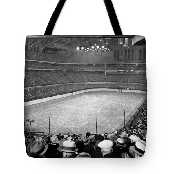 Tote Bag featuring the photograph Chicago Stadium Prepared For A Chicago Blackhawks Game by Celestial Images
