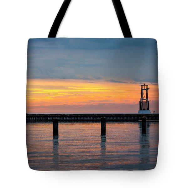 Tote Bag featuring the photograph Chicago Sunrise At North Ave. Beach by Adam Romanowicz