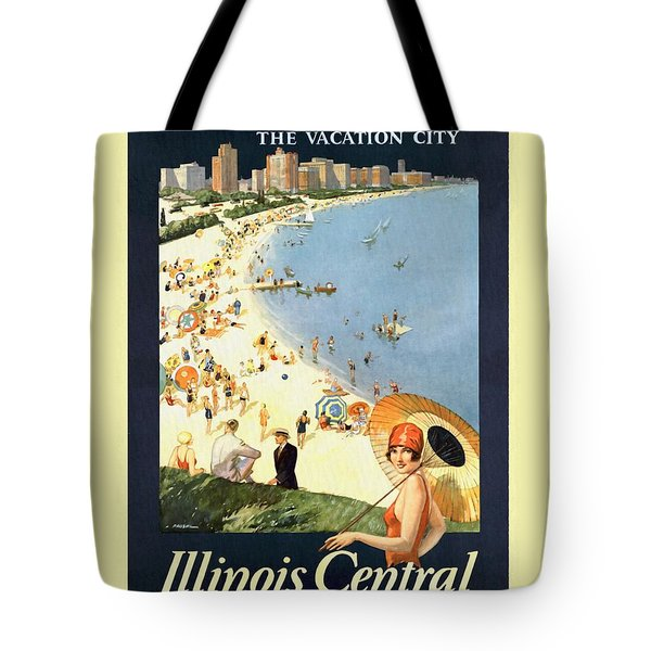 Chicago The Vacation City - Vintage Poster Restored Tote Bag