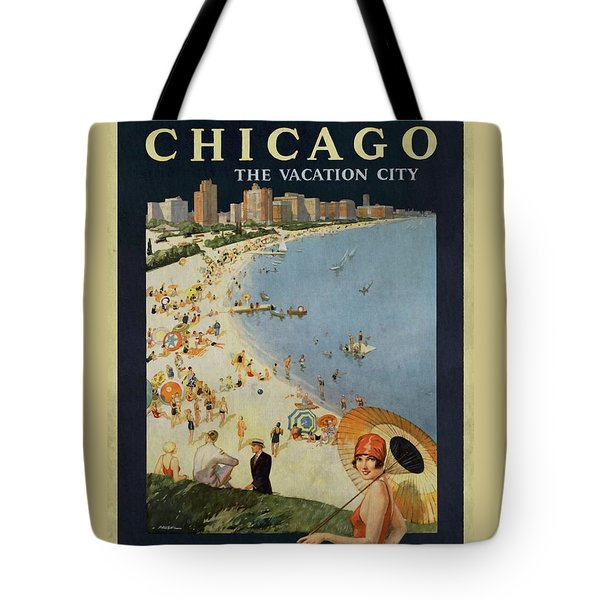 Chicago The Vacation City - Vintage Poster Vintagelized Tote Bag