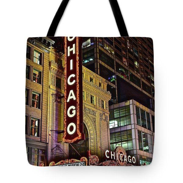 Chicago Theater Aglow Tote Bag