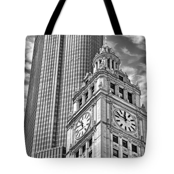 Tote Bag featuring the photograph Chicago Trump And Wrigley Towers Black And White by Christopher Arndt