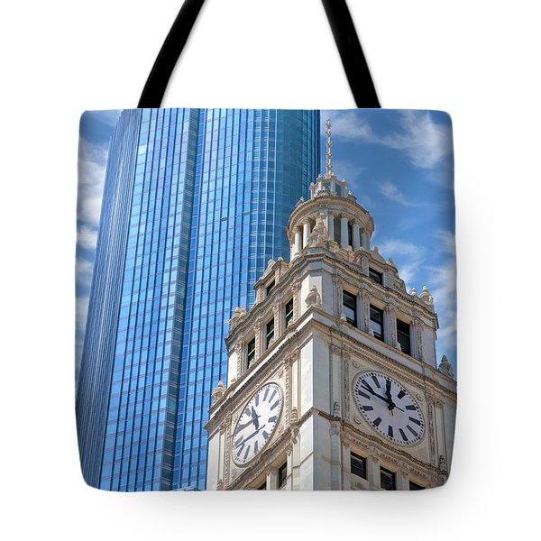 Tote Bag featuring the painting Chicago Trump And Wrigley Towers by Christopher Arndt