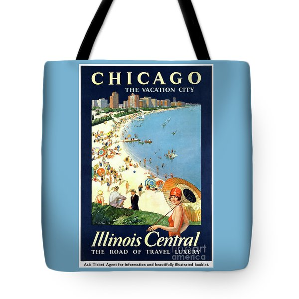 Chicago Vacation City Vintage Poster Restored Tote Bag by Carsten Reisinger