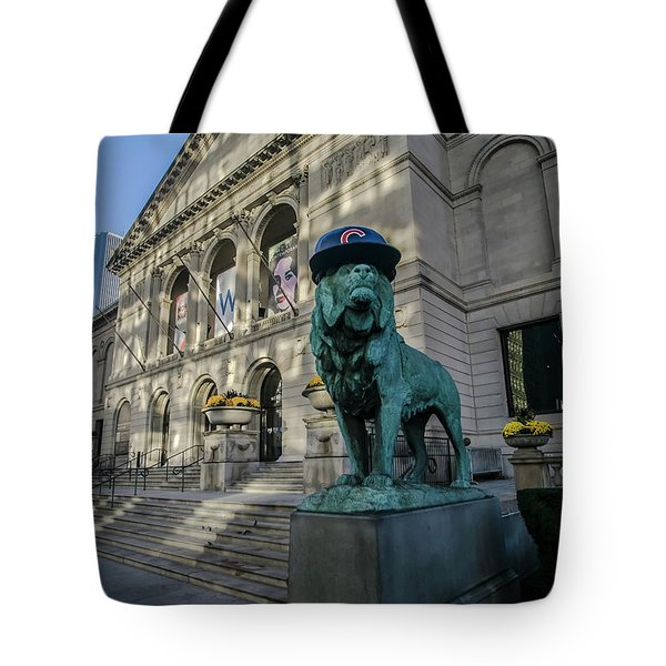 Chicago's Art Institute With Cubs Hat Tote Bag